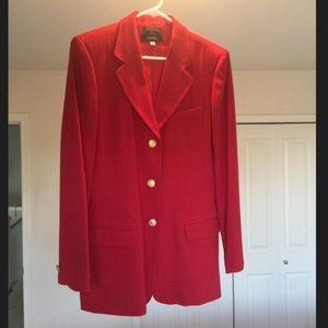 Red wool blazer.